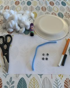 Supplies - Paper plate, glue, cotton wool, scissors, paper, pipe cleaner, googly eyes, pens