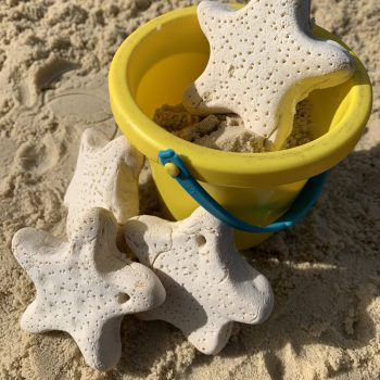 Salt dough starfish in sand