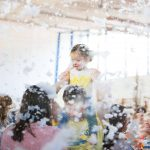 maess around messy party bubbles foam party snow
