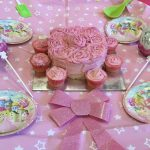 girls birthday party cake pink
